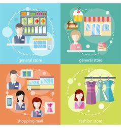 General store shopping mall and fashion store vector