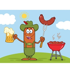 German Oktoberfest Sausage Cartoon vector image