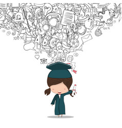 Girl graduated pupils back of school background vector