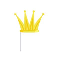 golden crown on stick masquerade decorative vector image