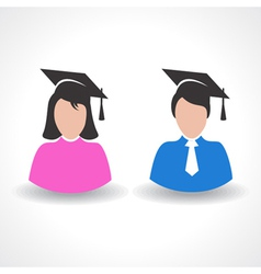 Graduate student male and female symbol concept vector