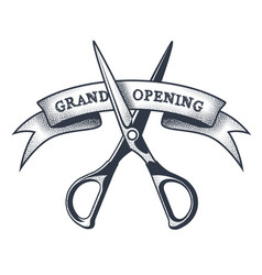 grand opening banner - scissors cutting a ribbon vector image
