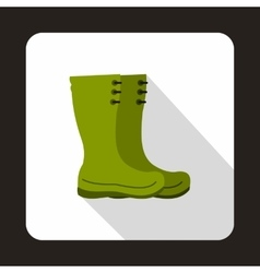 Green rubber boots icon flat style vector image