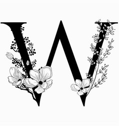 Hand drawn floral uppercase w monogram and vector