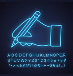 Hand holding pencil neon light icon vector