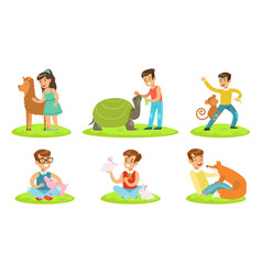 happy children and cute animals in petting zoo set vector image