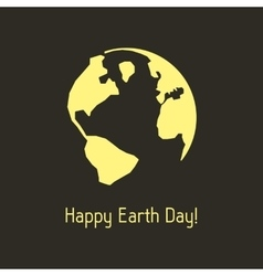 happy earth day with yellow outline planet vector image