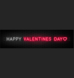 happy valentines day neon signboard on dark vector image