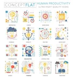 Infographics mini concept Human productivity icons vector image