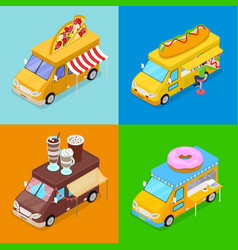 Isometric street food trucks with pizza cafe vector
