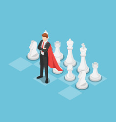 isometric super businessman as a leader on chess vector image