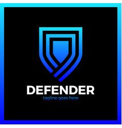 Line shield logotype three outline defense icon vector