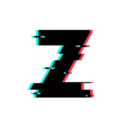logo letter z glitch distortion vector image