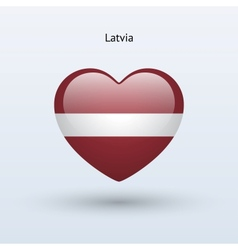 Love Latvia symbol Heart flag icon vector