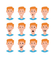 Male emoji cartoon characters collection vector