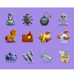 Malicious software icons set vector