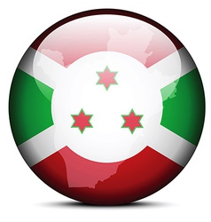 Map on flag button of Republic of Burundi vector image