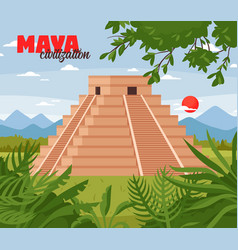 Maya pyramids doodle background vector