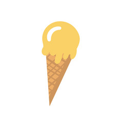 melting ice cream in a waffle cone cartoon vector image