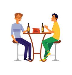 men friends or colleagues drinking beer flat vector image