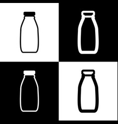 Milk bottle sign black and white icons vector