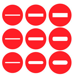minus negative icon shape round button set red vector image