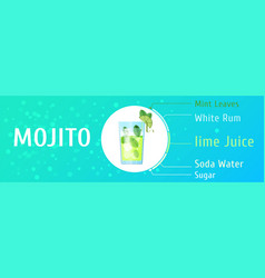 mojito cocktail ingredients trendy stylish vector image