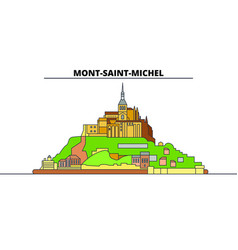 Mont-saint-michel and its bay line travel landmark vector