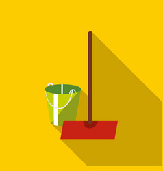 mop and bucket icon flat style vector image