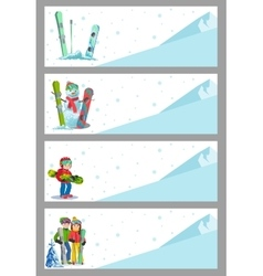 Mountain skier winter sport flyer design template vector