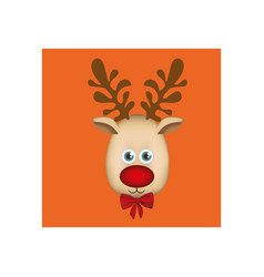 Orange square frame with christmas reindeer face vector
