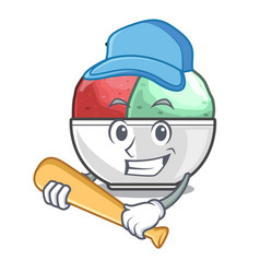 playing baseball sorbet ice cream in cup cartoon vector image