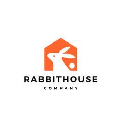 rabbit house home logo icon vector image