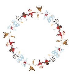 Round frame with Christmas characters dancing vector image