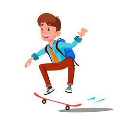 Schoolboy skateboarding with backpack on his back vector