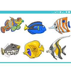Sea life fish characters set vector