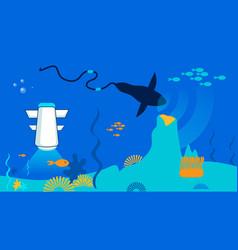 sea resource exploitation flat vector image