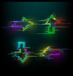 Set futuristic glitch arrows in cyberpunk style vector
