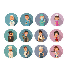 set icon people different professions flat vector image