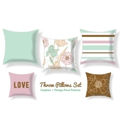 Set Of Floral Throw Pillows In Matching Unique vector