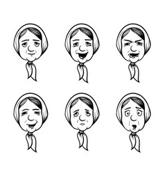 Set of grannies heads in cartoon style granny vector
