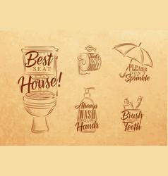 set toilet graphic symbols craft vector image