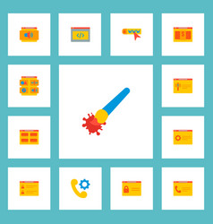 set wd icons flat style symbols with products vector image