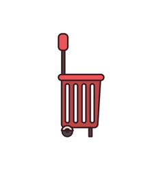 Silhouette color with shopping basket with wheels vector