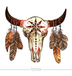 Sketch Buffalo Skull With Feathers vector image