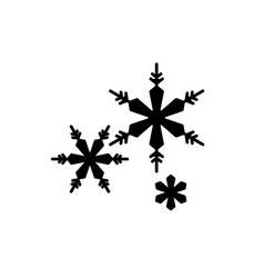 snowflakes black icon sign on isolated vector image