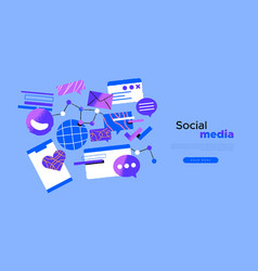 social media web template internet cartoon icon vector image