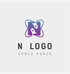 Space force logo design n initial galaxy rocket vector