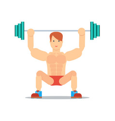 sporty boy lifting barbell icon vector image