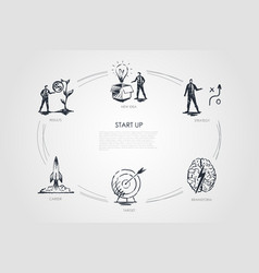 start up - new idea strategy results career vector image